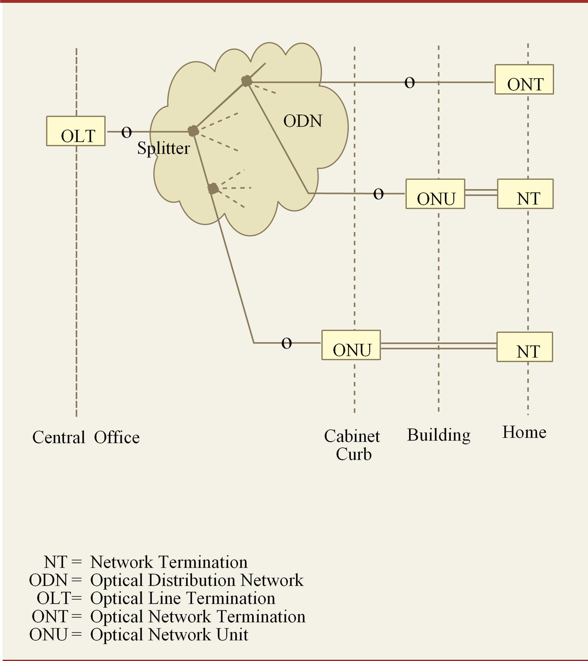 FIGURA 1› Struttura generale di una rete PON